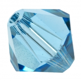 4mm Aquamarine 5301 Bi-Cone Swarovski Crystal Beads  - Pack of 10