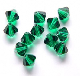 4mm Emerald Swarovski Bi-Cone Crystal Beads - Pack of 10