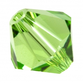 6mm Peridot 5301 Bi-Cone Swarovski Crystal Beads - Pack of 10