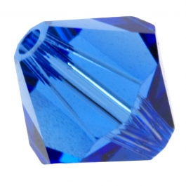 8mm Sapphire 5301 Bi-Cone Swarovski Crystal Beads - Pack of 6