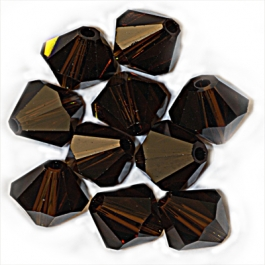 4mm Mocca Bi-Cone Swarovski Crystal Beads - Pack of 12