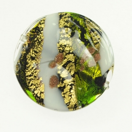 Large Abstract Disc Lime/White, Yellow Gold, Aventurina, Size 35mm