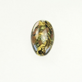 Abstract Oval Crystal/Aventurina/Yellow Gold, Size 25mm