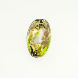 Abstract Oval Lime/White/Aventurina/Yellow Gold, Size 25mm