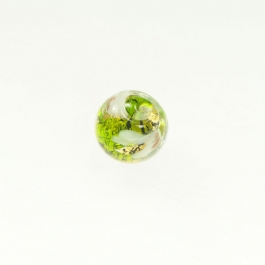 Abstract Round Lime/White, Yellow Gold, Size 12mm