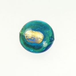 Exposed Gold Disc Aqua/Yellow Gold, Size 25mm