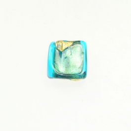 Exposed Gold Square Aqua/Yellow Gold, Size 11mm