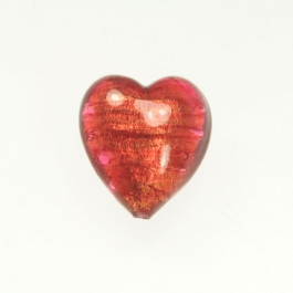 Large Foil Heart Rubino/Yellow Gold, Size 21mm