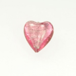 Large Foil Heart Rubino/White Gold, Size 21mm