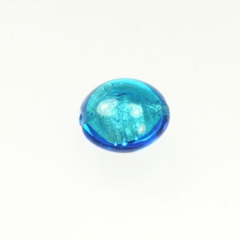 Foil Lentil Aqua/White Gold, Size 14mm