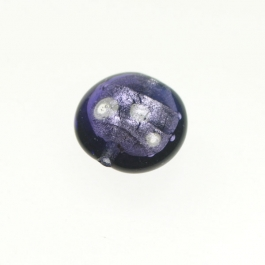 Foil Lentil Purple/White Gold, Size 14mm