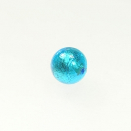 14mm Foil Round Aqua/White Gold, Size 14mm