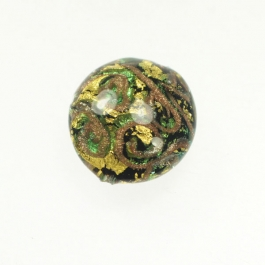 24 kt. Aventurina Swirl Disc Aqua, Yellow Gold, Size 21mm