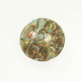 24 kt. Aventurina Swirl Large Disc Turquoise, Yellow Gold, Size 30mm