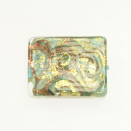 24 kt Aventurina Swirl Rectangle Turquoise, Yellow Gold, Size 25mm x 18mm