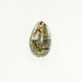 24 kt Aventurina Swirl Teardrop Aqua, Yellow Gold, Size 18mm