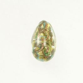 24 kt Aventurina Swirl Teardrop Turquoise, Yellow Gold, Size 18mm