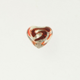 Baby Heart w/ Swirl Crystal w/ Red Swirl, White Gold, Size 14mm