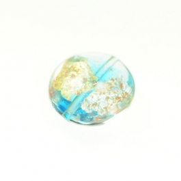 Luna Disc Aqua/Aventurina/Yellow Gold/Silver Foil, Size 18mm