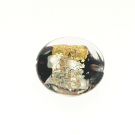 Luna Disc Black/Aventurina/Yellow Gold/Silver Foil, Size 18mm