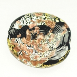 Luna Flat Oval Black/White & Yellow Gold, Aventurina, Size 35mm