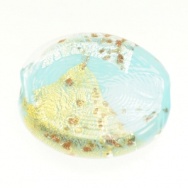 Luna Flat Oval Turquoise/White & Yellow Gold, Aventurina, Size 35mm