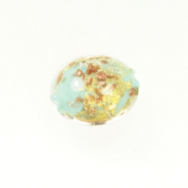 Luna Lentil Turquoise, Yellow Gold & Silver Foil/Aventurina, Size 12mm