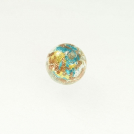 Luna Round Aqua/White & Yellow Gold, Aventurina, Size 12mm