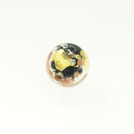 Luna Round Black/White & Yellow Gold, Aventurina, Size 12mm