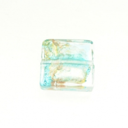 Small Luna Square Aqua/White & Yellow Gold, Aventurina, Size 15mm