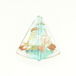 Luna Triangle Aqua/Aventurina/Yellow Gold/Silver Foil, Size 20mm