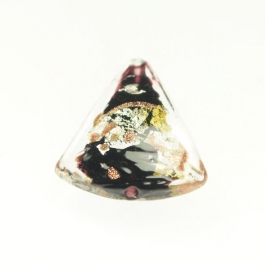 Luna Triangle Black/Aventurina/Yellow Gold/Silver Foil, Size 20mm