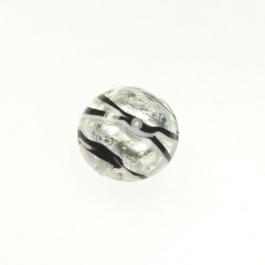 Tigrato Disc Black/White, Silver Foil, Size 18mm