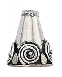 12 x 9 mm Sterling Silver Bali Style Cone Bead - Pack of 1
