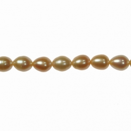 9x7mm Peach Freshwater Rice Pearls - 16 Inch Strand