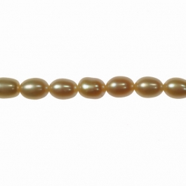 6x4mm Peach Freshwater Rice Pearls - 16 Inch Strand