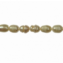 13x9mm Freshwater Rice Pearls with Ridges - 16 Inch Strand