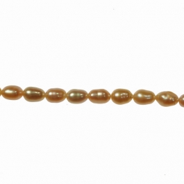 4x3mm Peach Freshwater Rice Pearls  16 Inch Strand