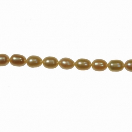 8x6mm Peach Freshwater Rice Pearls - 16 Inch Strand