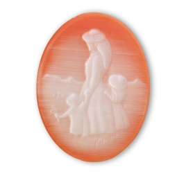 40x30 Victorian Woman and Children Orange Cateye Cameo - Pack of 1