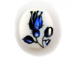 18x13mm Blue Rose Decal Porcelain Painting Cameo
