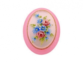 40x30mm Oval Fashion Cameo- Flower Bouquet on Pink