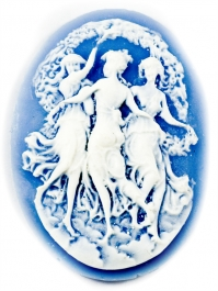 40x30mm Oval Blue and White Fashion Cameo Three Dancing Graces - Pack of 1
