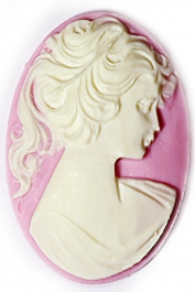 40x30mm Oval Fashion Cameo Lady in Violet - Pack of 1