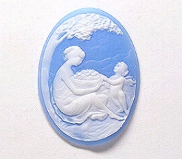 40x30mm Oval Fashion Cameo Mother And Angel