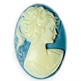 25x18mm Oval Fashion Cameo Lady in Blue - Pack of 2