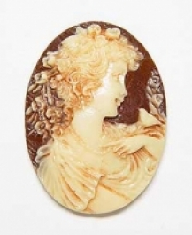 18x13mm Oval Ivory and Brown Fashion Cameo Anastasia - Pack of 2