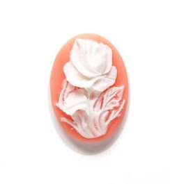 25x18mm Oval Fashion Cameo Peach Rose - Pack of 2