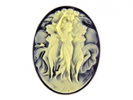 40x30mm Oval Fashion Cameo Three Dancers