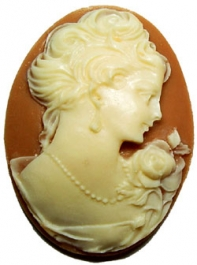 40x30mm Oval Fashion Cameo - Victorian Lady Cream on Tan - Pack of 1